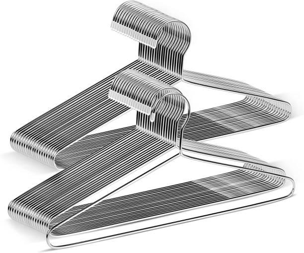 VISHAL_Co Stainless Steel Ultra & Durable Cloth Hanger Sliver Color Steel Pack of 12 Hangers