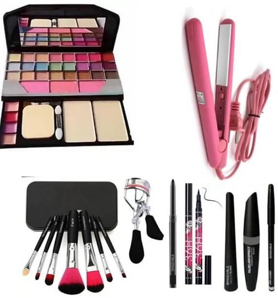 Dikyube TYA 6155 makeup kit, 7 black brush set, curler, smudge kajal, 36H waterproof kajal, 3in1 , professional hold styling mini hair straightener