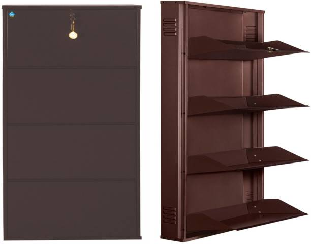 Delite Kom 29 Inches wide Latitude Four Door Powder Coated Wall Mounted Metallic Coffee Metal Shoe Rack
