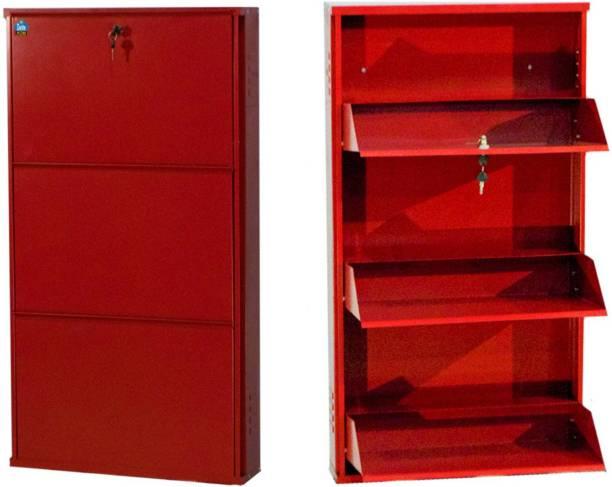 Delite Kom 20 Inches wide Three Door Powder Coated Wall Mounted Metallic Brick Red Metal, Metal, Metal Shoe Rack
