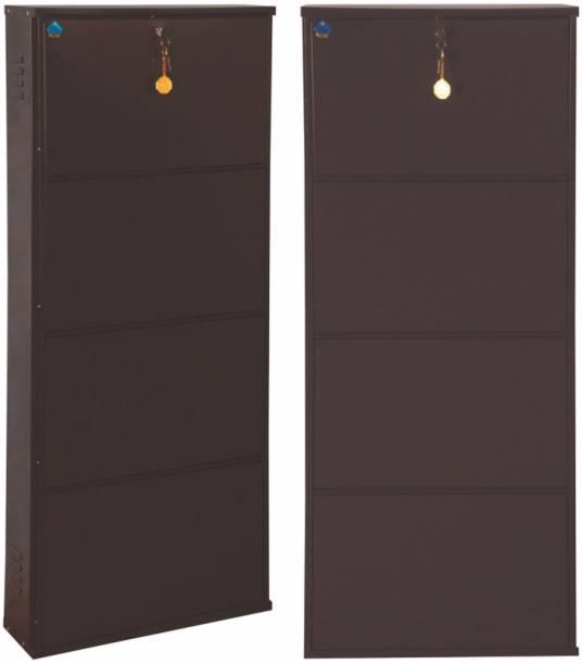 Delite Kom 20 Inches wide Latitude Four Door Powder Coated Wall Mounted Metallic Coffee Metal, Metal, Metal Shoe Rack