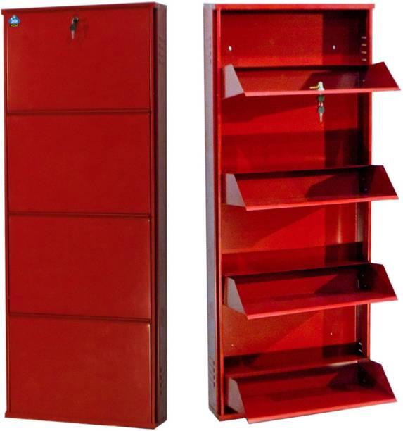 Delite Kom 20 Inches wide Four Door Powder Coated Wall Mounted Metallic Brick Red Metal, Metal, Metal Shoe Rack