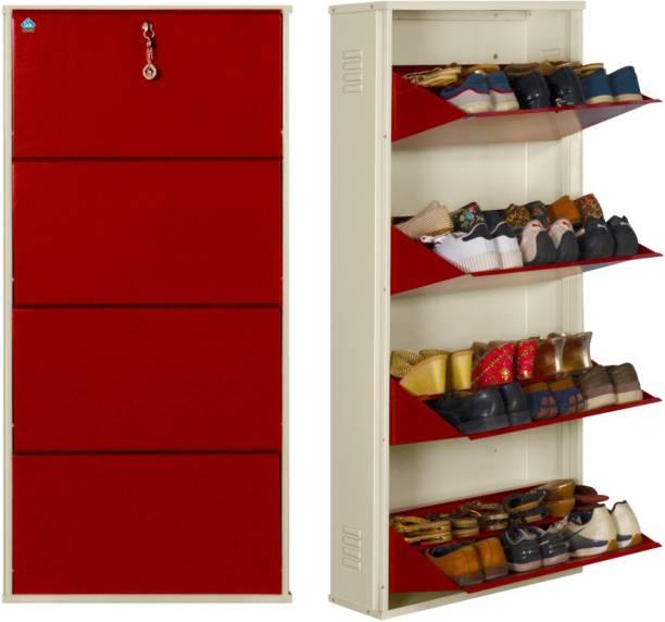 Delite Kom 24 Inches wide Jumbo Four Door Double Decker Powder Coated Wall Mounted Metallic Ivory Brick Red Metal Shoe Rack