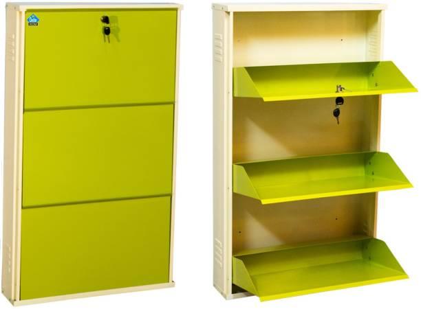Delite Kom 24 Inches wide Infinity Three Door Powder Coated Wall Mounted Metallic Ivory Green Metal Shoe Rack