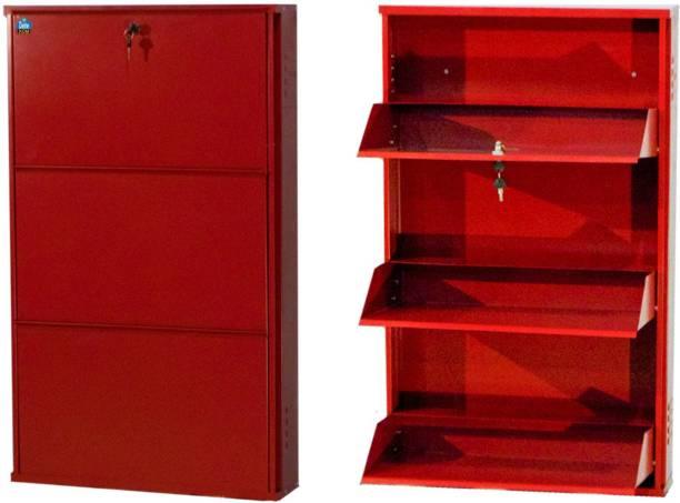 Delite Kom 24 Inches wide Three Door Powder Coated Wall Mounted Metallic Brick Red Metal, Metal, Metal Shoe Rack
