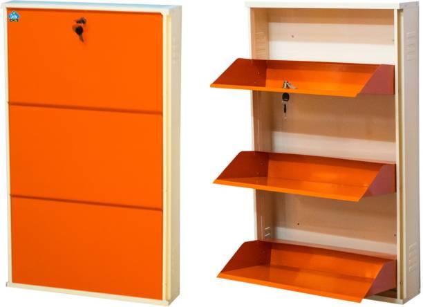 Delite Kom 24 Inches wide Infinity Three Door Powder Coated Wall Mounted Metallic Ivory Orange Metal Shoe Rack