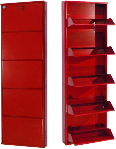 Delite Kom 20 Inches wide Latitude Five Door Powder Coated Wall Mounted Metallic Brick Red Metal, Metal, Metal Shoe Rack