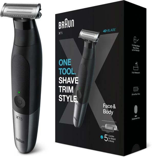 Braun Series XT5 Beard Trimmer, Shaver and Electric Razor for Men, Body Grooming Kit for Manscaping, Durable One Blade, One Tool for Stubble, Hair, Groin, Underarms, XT5100  Runtime: 45 min Trimmer for Men