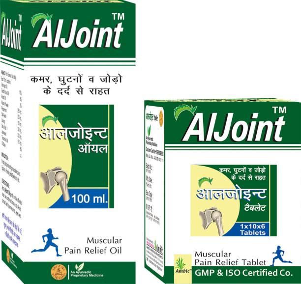 AMBIC Aljoint Pain Relief Tablets & Aljoint Ayurvedic Pain Relief Oil I Ayurvedic Pain Relief Tablets For Joint Pain, Muscular Pain, Rheumatoid Arthritis