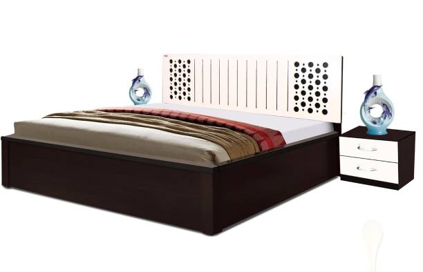 POJ Cardno King Size Bed With PU Polish Which Makes It Look Beautiful And Also Stain-Free Engineered Wood King Hydraulic Bed