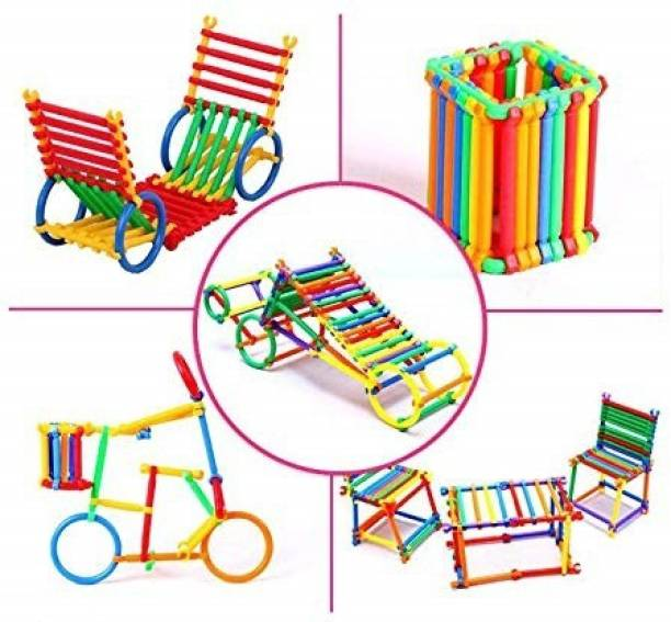 Quasar Stick Block Game - Colorful Different Small Pack Shape Locking Stick Educational Building Smart Blocks Interlocking Creative Connecting Kit for 3-8 Years Old Kids Boys & Girls