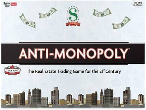FUNSKOOL Anti Monopoly The Classic Real Estate Trading Game Kids Adults & Family 2 - 6 Players 8 & Above Board Game Accessories Board Game