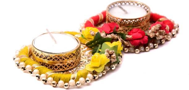 bhumiyaan Flower Design Metallic Diya Tea Light Candle Holder for Diwali Diya/diyas/Pooja for Diya/Deepak/Candle Diya / (Set of 02) Gold Plated, Paper Tealight Holder Set