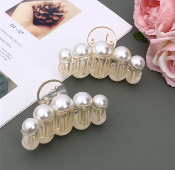 ANNA CREATIONS 2 Pcs Large Pearl Hair Claw Clips White Hair Clips Thick Long Hair Jaw Clips Clutches Barrettes Hair Accessories for Women and Girls Hair Claw Thick Hair aw Clamp Strong Hold Hair Claw