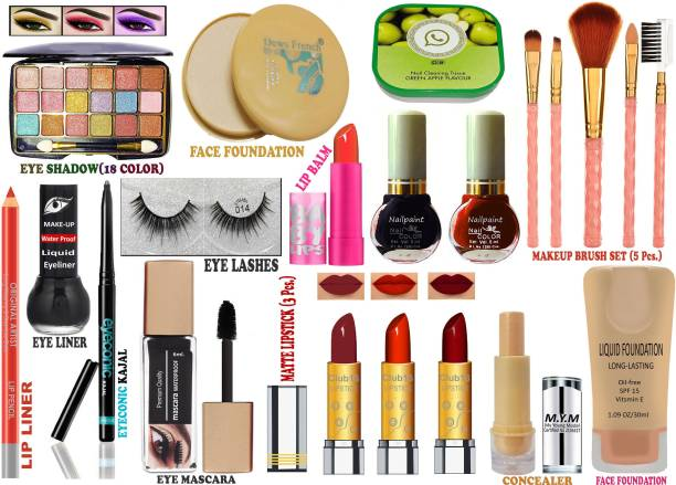 CLUB 16 Original High Quality All in One Bridal Makeup Kit, College Girls Makeup Kit, Office Womens Makeup kit and Festival or Party Purpose Makeup Kit of 21 Makeup Items AW78