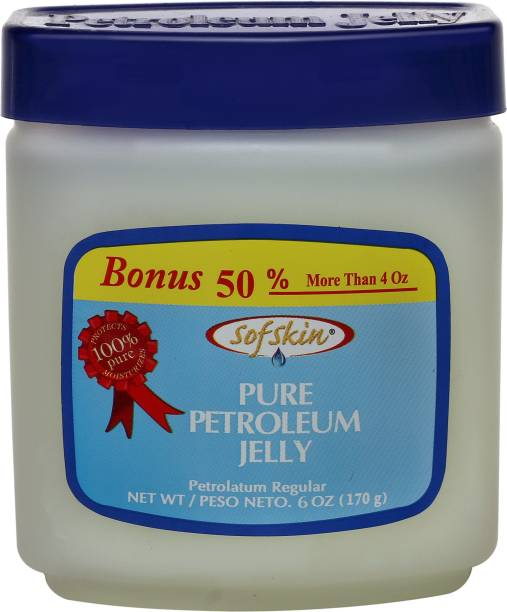 Sofskin (American Brand) 100% PURE WHITE PETROLEUM JELLY IP - No smell - 170 gm