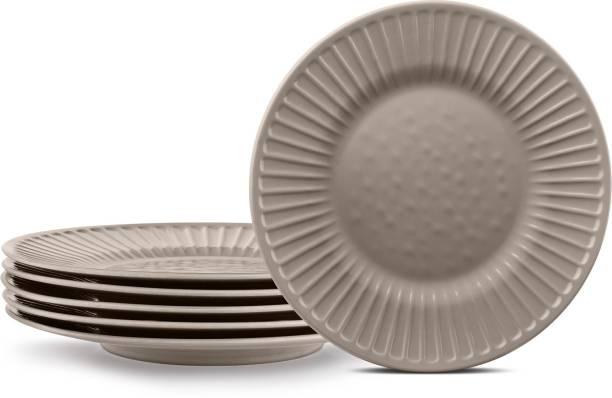 Urban Chef Unbreakable Melamine Earthy Grey Round Dinner/Lunch /Serving Quarter Plates (20 CM) 100 % Food Grade Plates (Set of 6) Quarter Plate