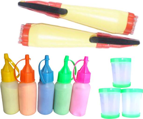 Upyukat Rangoli Making Kit: Pack of Rangoli Color Powder/Kolam Powder Bottles in Special Squeeze pack for Floor Rangoli Navratri Pongal Pooja Mandir + 2 Rangoli Outliner Pen and 3 Rangoli Fillers Rangoli Stencil
