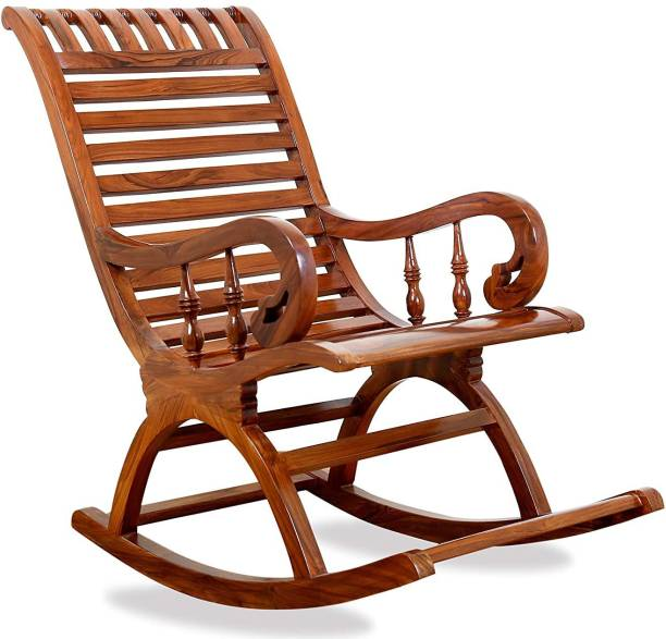 Decorhand Teak Wood Rocking Chair For Living Room / Garden - Rosewood Finishing for adults/Grand parents Solid Wood 1 Seater Rocking Chairs