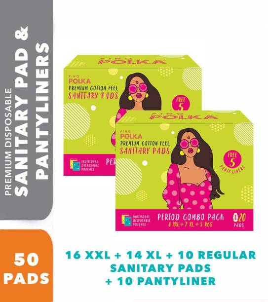 pinq polka 16XXL 14XL 10Regular Sanitary Pads with 5 Daily Liners – Premium Ultra Slim Combo (All You Need Pack) with Biodegradable packaging Sanitary Pad