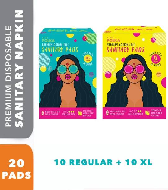 pinq polka Rash Free (Regular + XL) - 20 Premium Ultra Thin Sanitary Pads, For Night and Heavy Flow with Biodegradable packaging Sanitary Pad