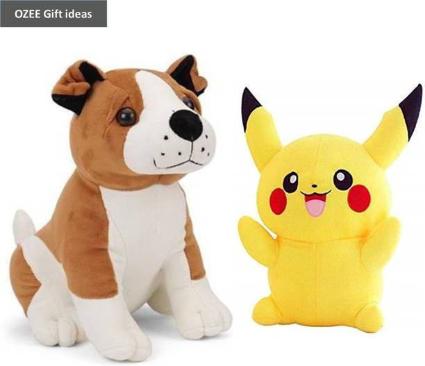 OZEE Budget Combo Of 2 ( Bull Dog and Pikachu) soft Birthday Gift for Girls/Wife, Boyfriend/Husband, Soft Toys Wedding/Anniversary Gift for Couple Special, Baby Toys Gift Items  - 30 cm