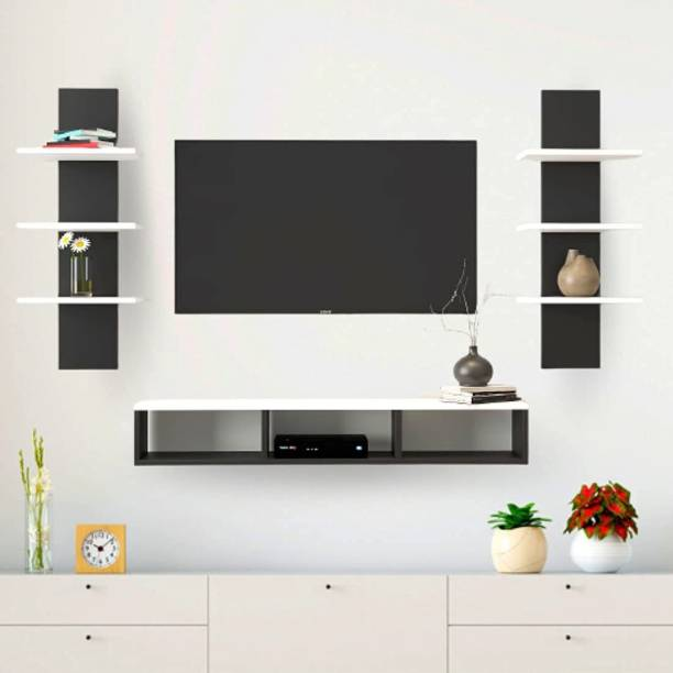 """Furnifry Wooden TV Panel/TV Entertainment Unit with 2 Wall Shelf/Wall Set Top Box Shelf Stand/TV Panel for Wall/TV Panel Cabinet for Home/Living Room/Drwing Room Ideal for TV Upto 42"""" (Black/White) Engineered Wood TV Entertainment Unit"""
