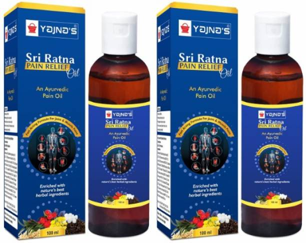 YAJNAS Sri Ratna 100 ml (Pack of 2) Ayurvedic / Natural Pain Relief Oil for Knee, Shoulder and Muscular Pain, Arthritis Pain, Joint Pain, Back Pain, Upper Back Pain, Neck Pain, Spasms Liquid
