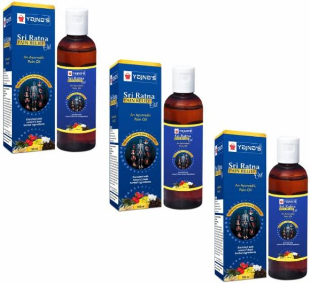 YAJNAS Sri Ratna 100 ml (Pack of 3) Ayurvedic / Natural Pain Relief Oil for Knee, Shoulder and Muscular Pain, Arthritis Pain, Joint Pain, Back Pain, Upper Back Pain, Neck Pain, Sprains Liquid