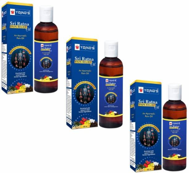 YAJNAS Sri Ratna 100 ml (Pack of 3) Ayurvedic Pain Relief Oil for Knee, Shoulder and Arthritis Pain, Joint Pain, Back Pain, Upper Back Pain, Neck Pain, Sprains and Spasms Liquid