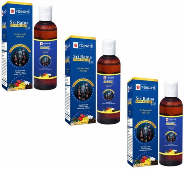 YAJNAS Sri Ratna 100 ml (Pack of 3) Ayurvedic / Natural Pain Relief Oil for Knee, Shoulder and Muscular Pain, Arthritis Pain, Joint Pain, Back Pain, Upper Back Pain, Sprains and Spasms Liquid