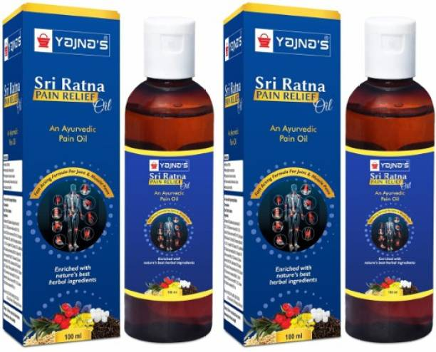 YAJNAS Sri Ratna 100 ml (Pack of 2) Ayurvedic Natural Pain Relief Oil for Knee, Shoulder and Arthritis Pain, Joint Pain, Back Pain, Upper Back Pain, Neck Pain, Sprains and Spasms Liquid