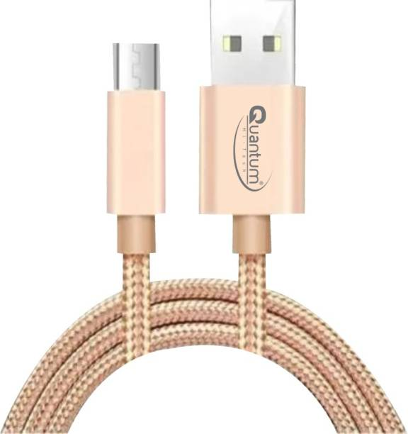 QUANTUM S3 1.5m Tough & Durable Nylon Braided 2.4 A 1 m Micro USB Cable (Compatible with Mobiles, Tablets and All USB Charging Devices, Gold, One Cable) 2.4 A 1.5 m Copper Braided Micro USB Cable