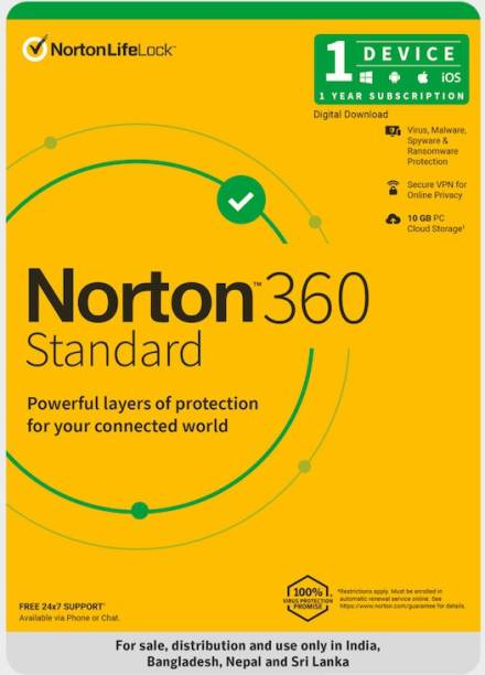Norton 360 Standard 1 PC 1 Year Total Security (Email Delivery - No CD)
