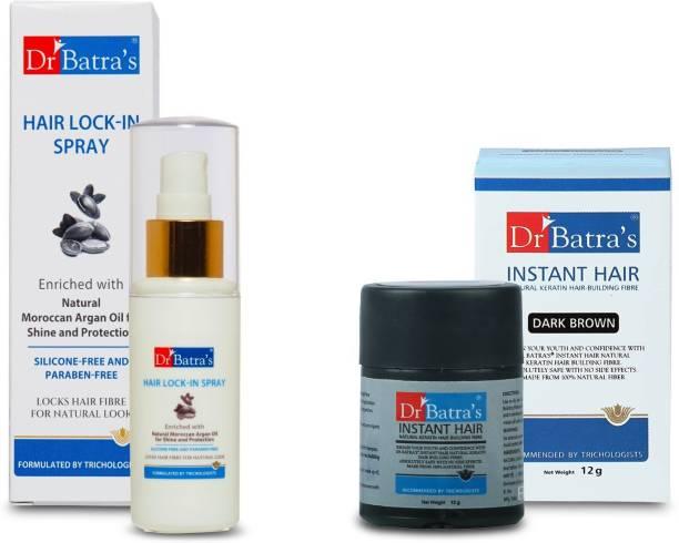 Dr Batra's Instant Hair Natural Keratin Hair Building Fibre - Dark Brown - 12 gm and PRO+ Lock-In Spray - 50 ml (Pack of 2)