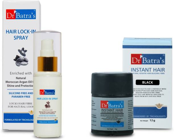 Dr Batra's Instant Hair Natural Keratin Hair Building Fibre - Black - 12 gm and PRO+ Lock-In Spray - 50 ml (Pack of 2)