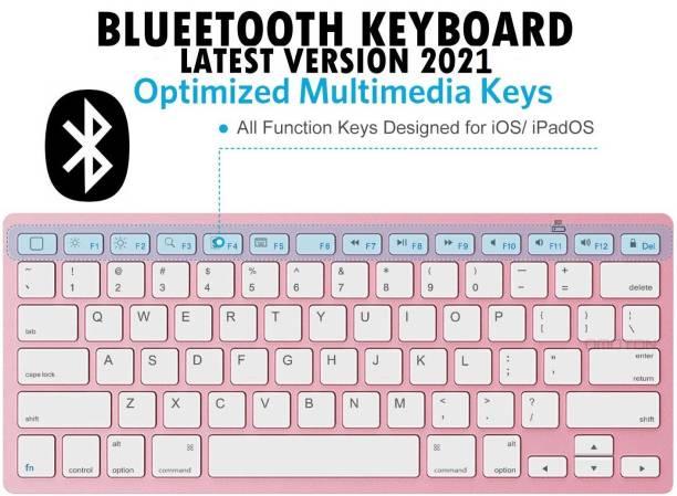 ZURU BUNCH Ultra-slim Wireless Keyboard Bluetooth 3.0 Mini Korean 78 Keys Wireless Bluetooth Keyboard Compact for Apple iPad/iPhone Series/MacBook/Samsung Phones/PC - RED ROSE Bluetooth, Wireless Multi-device Keyboard