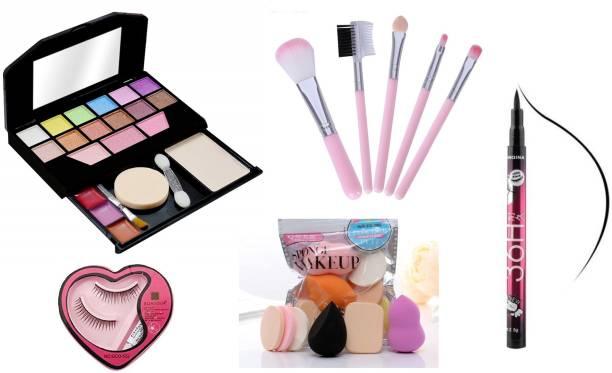 Uchiha Professional Tya 5024 Fashion Makeup Kit mini, 5pieces Makeup Brush set, Bonjour Eyelashes with glue & 6in1 Makeup Sponges Puff set & 36H LongLasting Eyeliner