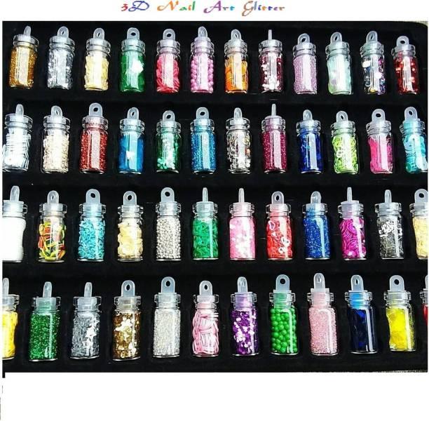 J & F Professional nail Art 48 Mini Bottles , 3D Nail Art , Glitter Sequins Rhinestones ( Multicolor )