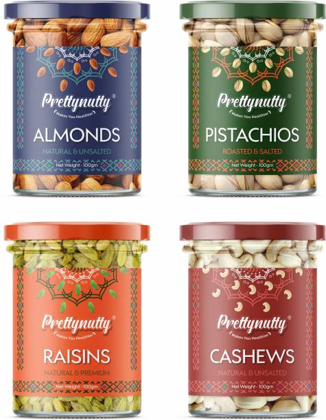 Prettynutty Dry Fruits Combo Pack (100g*4) - Natural and Unsalted Almond - 100g, Cashew - 100g, Raisins - 100g and Roasted and Salted Pistachios - 100g Almonds, Pistachios, Raisins, Cashews