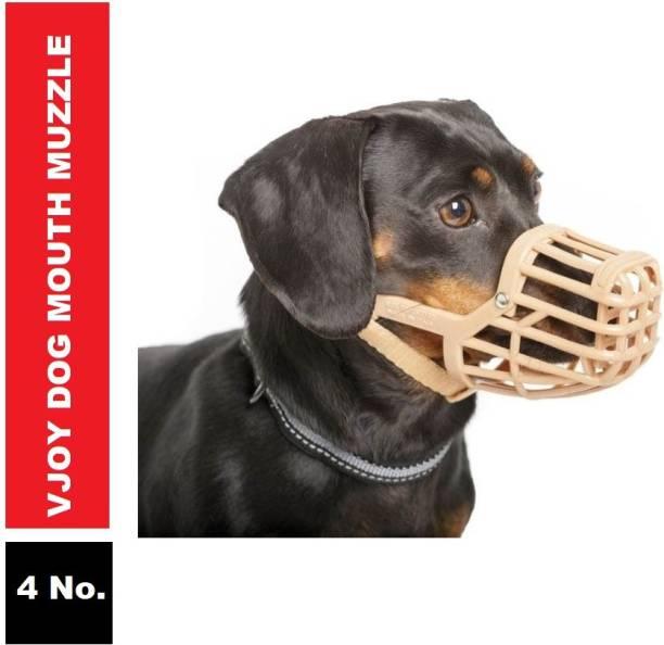 VJOY Mouth Muzzle No.4 (Brown) Small Strips Dog Muzzle