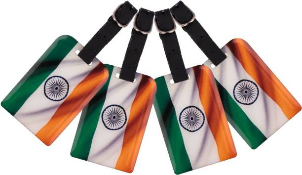 Tag8 Tiranga Bag Security Tag (Pack of 4 ) | Indian Flag Luggage tag with Airport Tracer Code Luggage Tag
