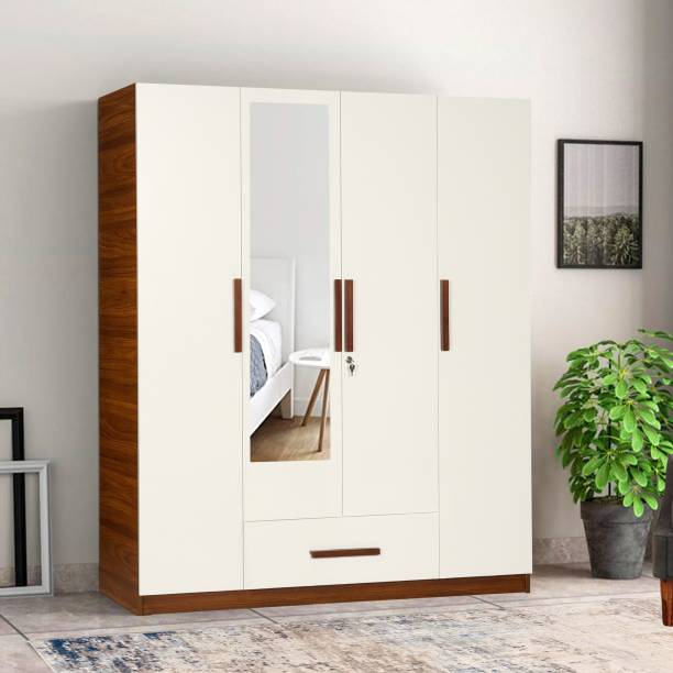 TREVI Ozone With Drawer With Mirror Engineered Wood 4 Door Wardrobe