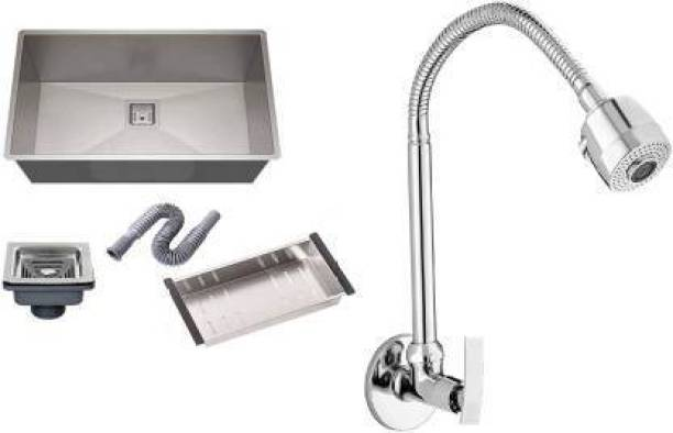 """Spazio 304 GRADE HANDMADE 304 GRADE HANDMADE Stainless Sink Kitchen Sink (24"""" X 18"""" X 10""""Inch ) With FLEXIBLE SINK COCK TAP WITH Waste Coupling And drain basket , Vessel Sink (SILVER) Under Counter Basin(SILVER) Vessel Sink"""