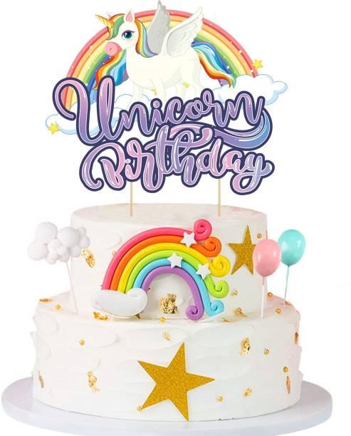 ZYOZI Unicorn Happy Birthday Cake Topper,Unicorn Cake Topper Decoration for Unicorn Baby Shower Birthday Party Supplies (PACK OF 1) Cake Topper