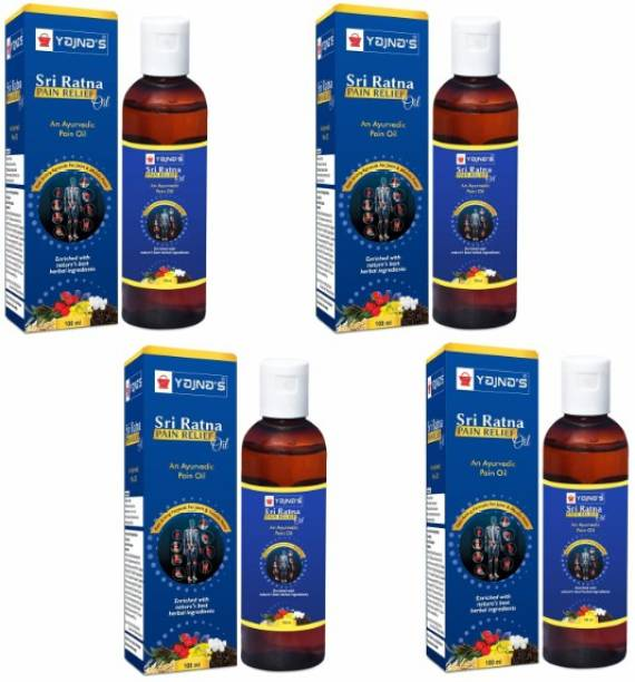 YAJNAS Sri Ratna 100 ml (Pack of 4) Ayurvedic / Natural Pain Relief Oil for Shoulder and Arthritis Pain, Joint Pain, Back Pain, Upper Back Pain, Neck Pain, Sprains and Spasms Liquid