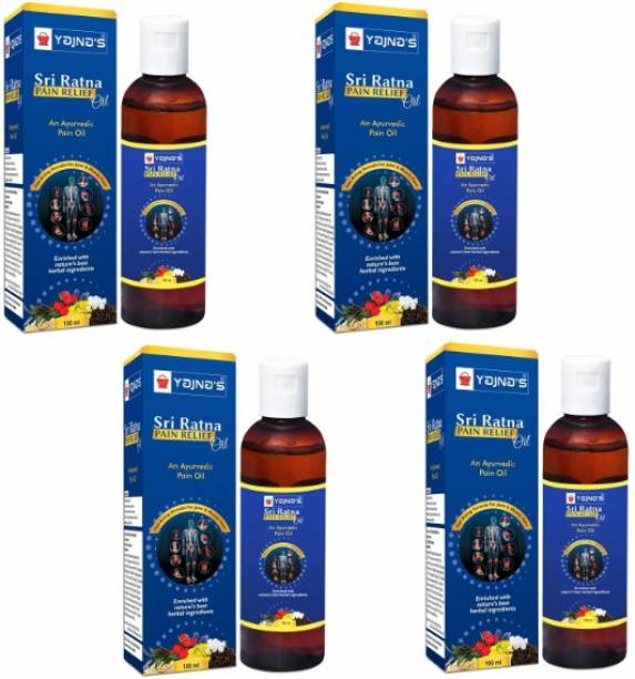 YAJNAS Sri Ratna 100 ml (Pack of 4) Ayurvedic / Natural Pain Relief Oil for Shoulder and Muscular Pain, Arthritis Pain, Joint Pain, Back Pain, Upper Back Pain, Neck Pain, Sprains and Spasms Liquid