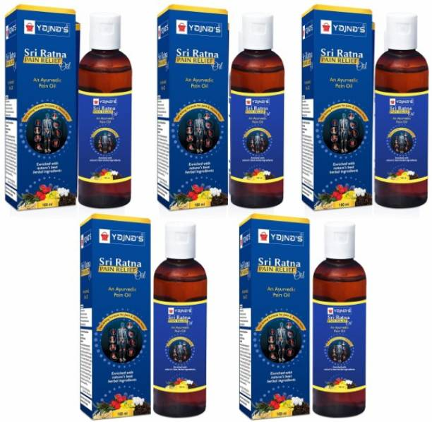 YAJNAS Sri Ratna 100 ml (Pack of 5) Ayurvedic / Natural Pain Relief Oil for Knee, Shoulder and Muscular Pain, Arthritis Pain, Joint Pain, Back Pain, Upper Back Pain, Neck Pain, Sprains Liquid