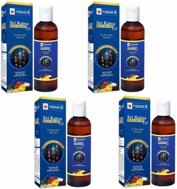 YAJNAS Sri Ratna 100 ml (Pack of 4) Ayurvedic Pain Relief Oil for Knee, Shoulder and Arthritis Pain, Joint Pain, Back Pain, Upper Back Pain, Neck Pain, Sprains and Spasms Liquid