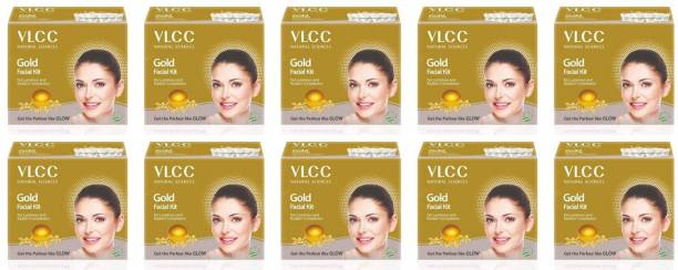 VLCC Gold Facial Kit (6 Items in single box) - Pack of 10 (60 GM X 10) For Radiant Complexion